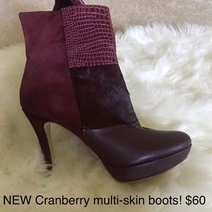 Cranberry MULTI-skin boots! NEVER WORN.Sexy!
